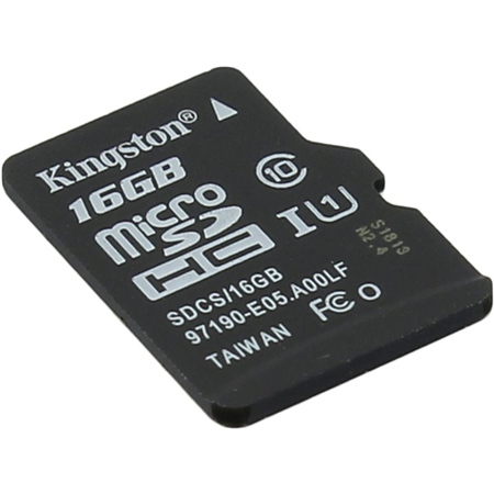 Micro SD 16GB Kingston Class 10 Canvas Select UHS-I U1 80MB/s (SDCS/16GBSP) 00000191284